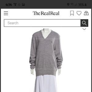 Christian Dior grey vneck sweater XL